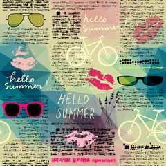 Tapeta Seamless background pattern. Imitation of old newspaper, text is unreadable. Hello summer.