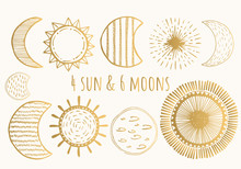 Golden Moons And Suns. Vector. Isolated.