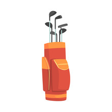 Red And Orange Golf Bag Full O...