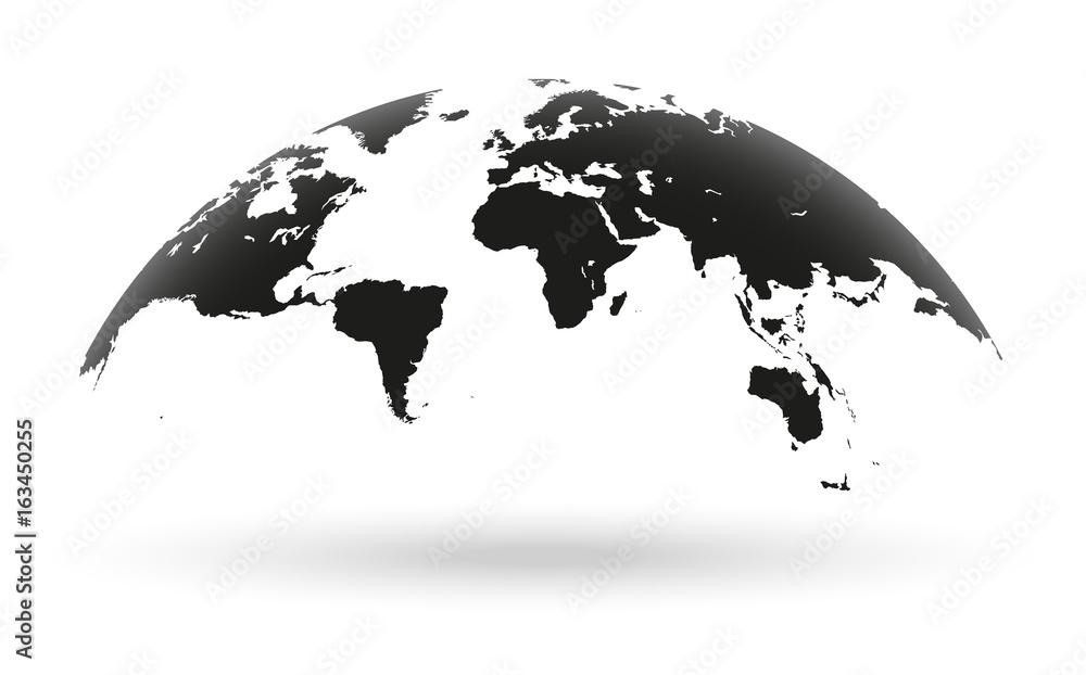 Fototapety, obrazy: Black world map globe isolated on white background