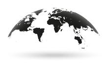 Black World Map Globe Isolated...