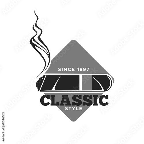 Fotografie, Obraz Classic style cigars since 1897 isolated monochrome emblem