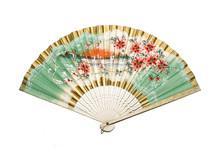 Vintage Hand Fan On White Back...
