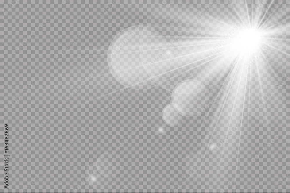 Fototapety, obrazy: Vector transparent sunlight special lens flare light effect. Sun flash