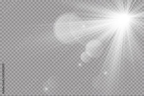 Obraz Vector transparent sunlight special lens flare light effect. Sun flash  - fototapety do salonu