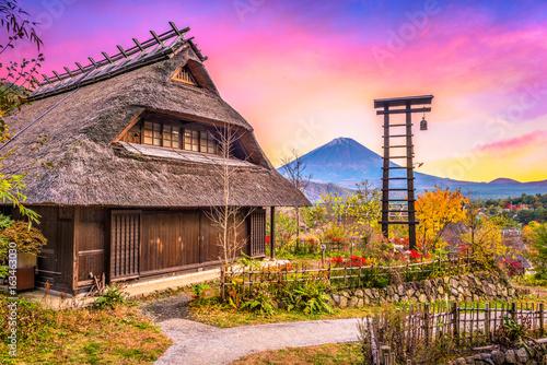 Obrazy na płótnie Canvas Village and Mt. Fuji, Japan.