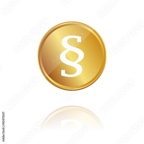 Praragraph - Gold Münze mit Reflektion Wallpaper Mural