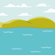 color background lake landscape with mountains vector illustration