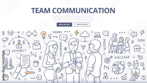 Fotografía  Team Communication Doodle Concept