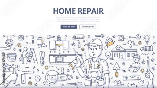 Fotografía  Home Repair Doodle Concept