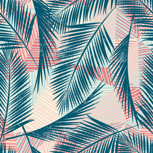 Cotton fabric Seamless exotic pattern with tropical plants.