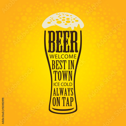 Fényképezés  Vector banner with overflowing beer glass and lettering on the beer theme on the yellow bubble background in a retro style