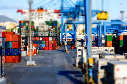 Fototapety, obrazy: View of a container terminal at the port of Genoa effect model.