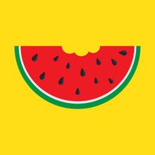 Watermelon Slice, With Bite Ta...