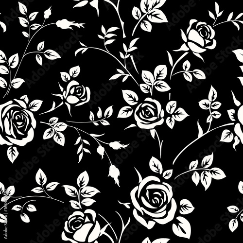 Black Flower Pattern Stock Images: Seamless Pattern With White Rose Silhouette On Black