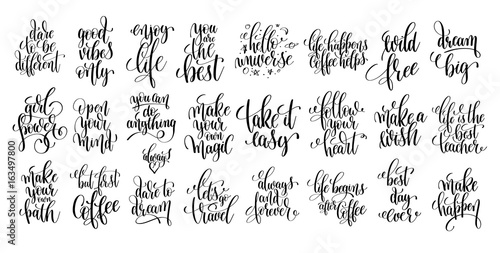 Fotografie, Obraz  set of 25 hand lettering positive quote