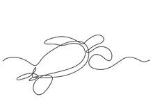 Single Line Drawing Of Sea Turtle Swimming