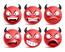Demon Smileys Vector Set. Bad ...