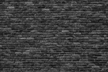 gloomy background, black brick wall of dark stone texture