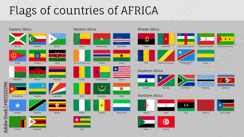 Map Of Africa With Flags.Africa Flags Big Set Travel Agency Or Classroom Geography Poster