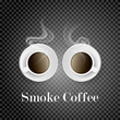 Realistic cups of coffee, white. Delicate coffee smoke on isolated background. 3d mug coffee with vector mesh smoke