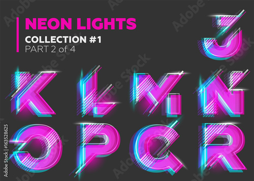 Vector Neon Character Typeset. Glowing Letters on Dark Background. Glitch Effect. Pink, Blue, Purple Overlay Layers. Futuristic Font for DJ Music Poster, Night Club Banner, Sale Banner, Summer Fest.
