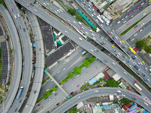 Aerial view from the drone on the highway of Bangkok,Thailand Wallpaper Mural