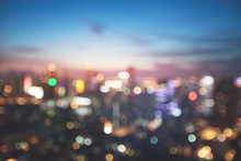 Blurred Bokeh Light In City On Night Background