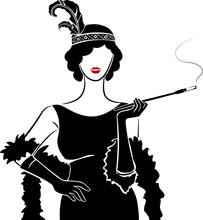 Girl Stencil Flapper Illustrat...