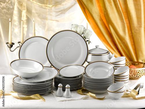 Fotografie, Obraz  elegant set of  porcelain plates  ready for a buffet dinner