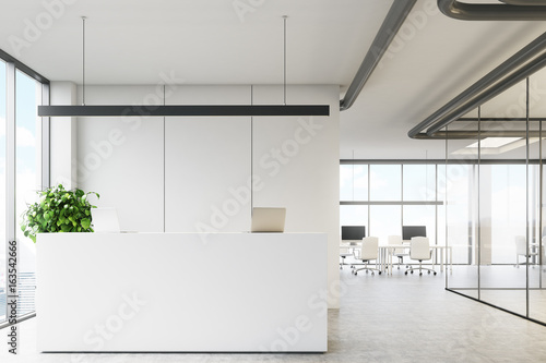 White office with a reception desk Wallpaper Mural