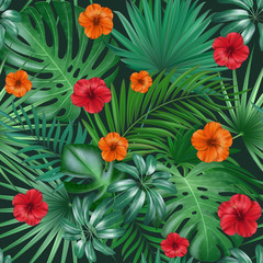 Panel Szklany Do jadalni Seamless hand drawn tropical vector pattern with bright hibiscus flowers and exotic palm leaves on dark background.