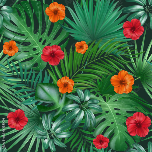 Foto op Canvas Draw Seamless hand drawn tropical vector pattern with bright hibiscus flowers and exotic palm leaves on dark background.