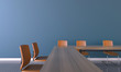 Leinwanddruck Bild - Meeting room Office and Orange chair minimal style / 3d rendering