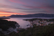 Dusk in Fisherman harbor and tourist village Povlja on north east on Island Brac in Croatia