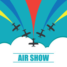 Air Show. Maneuvers Of An Aero Plane In The Blue Sky. Vector Illustration