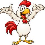 Fototapeta Fototapety na ścianę do pokoju dziecięcego - Happy cartoon chicken. Vector clip art illustration with simple gradients. All in a single layer.