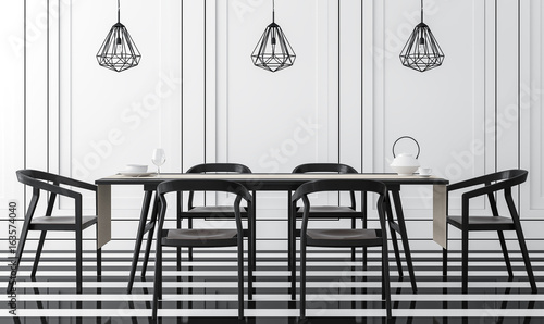 Modern vintage dining room with black and white 3d rendering ...