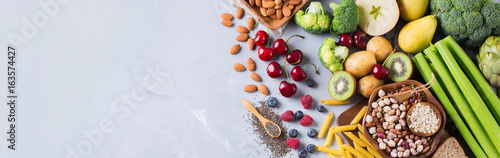 Foto op Aluminium Assortiment Selection of healthy rich fiber sources vegan food for cooking