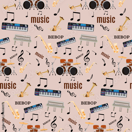 Vector seamless pattern with bebop jazz music instruments Canvas Print