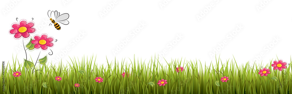 Fototapety, obrazy: Fresh realistic green grass with red flowers - vector illustration