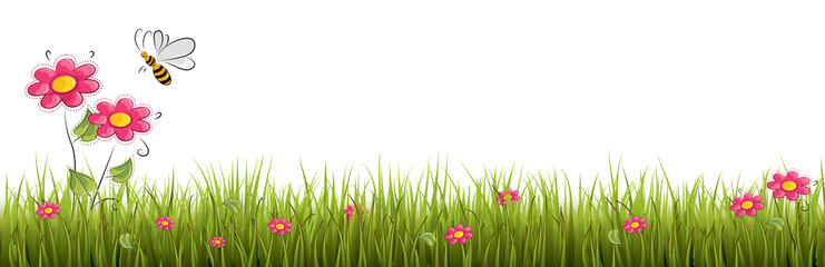 Naklejka Fresh realistic green grass with red flowers - vector illustration