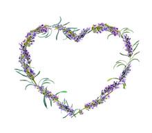 Lavender Flowers. Watercolor Floral Heart Frame