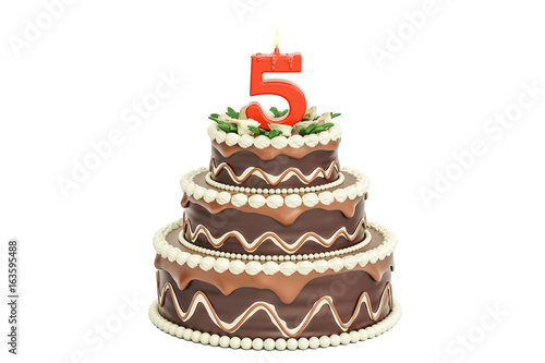 Chocolate Birthday Cake With Candle Number 5 3D Rendering