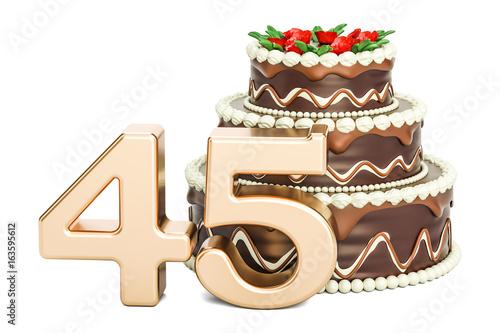 Photographie  Chocolate Birthday cake with golden number 45, 3D rendering