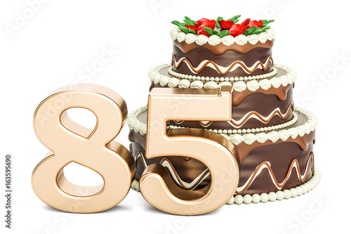 Fotomural Chocolate Birthday cake with golden number 85, 3D rendering