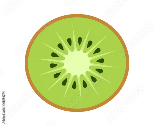 Fotografie, Tablou  Kiwi fruit, kiwifruit or Chinese gooseberry half cross section flat color vector