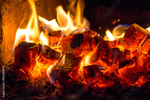 Coals in furnace Canvas Print