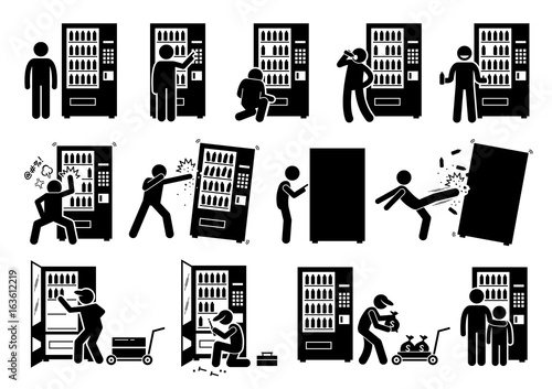 Obraz People with Vending Machine. Pictogram depicts a person using vending machine and destroying it. The stick figures also shows a worker stocking up, fixing, and collecting the money from it.  - fototapety do salonu