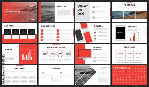 red and white modern presentation template you can use it